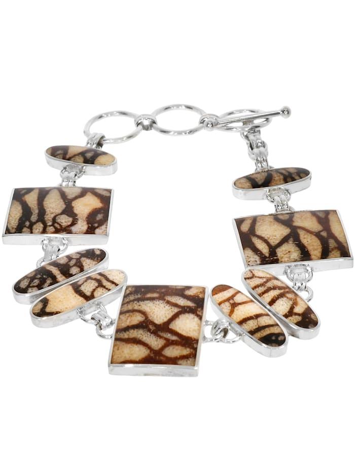 1001 Diamonds Damen Schmuck Edelstein Tigerkoralle Armband 925 Silber beige 20 cm, beige