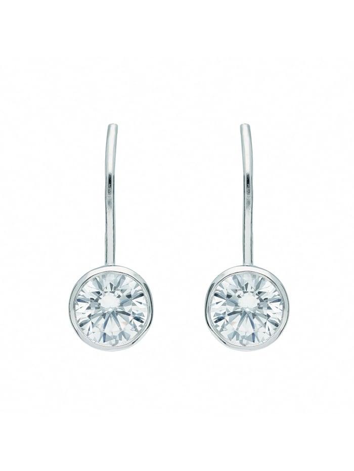1001 Diamonds Damen Silberschmuck 925 Silber Boutons mit Zirkonia Ø 7 mm, silber