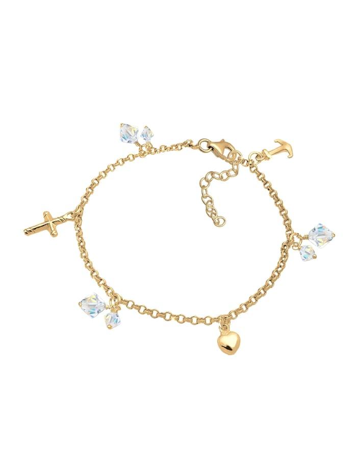 Armband Kreuz Herz Anker Kristalle 925 Silber