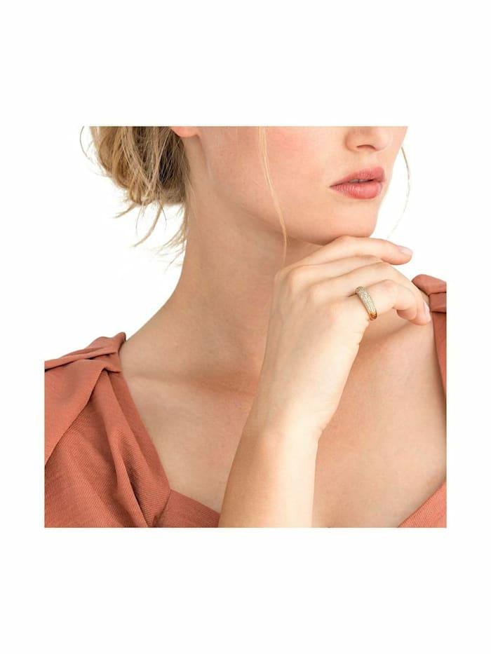 Ring für Frauen, 925 Silber vergoldet mit Zirkonia, 6 mm breit