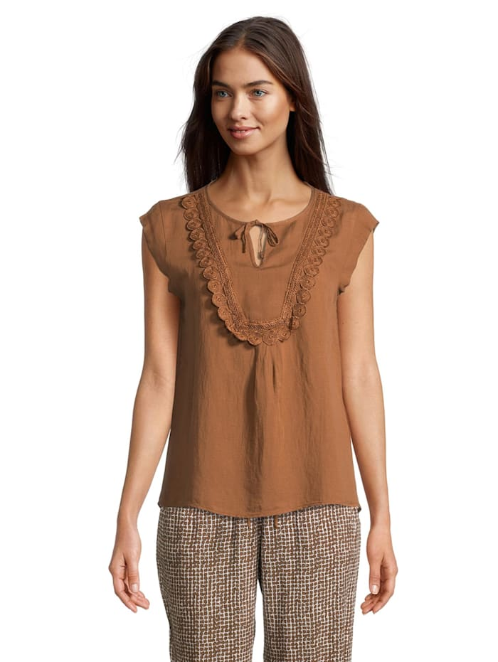 Betty & Co Blusentop mit Spitze Material, Toffee