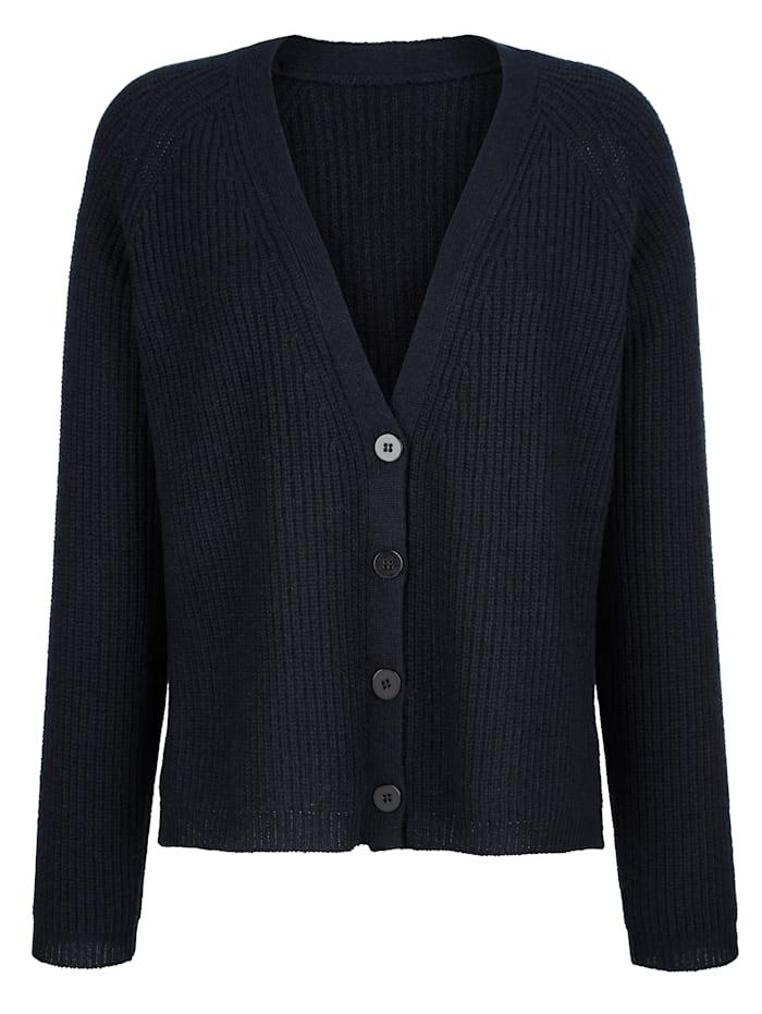 Alba Moda Strickjacke in reduzierter Oversized-Form, Marineblau