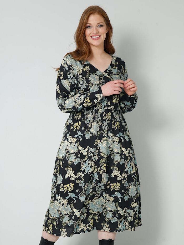 Sara Lindholm Šaty s kvetinovou potlačou, Čierna