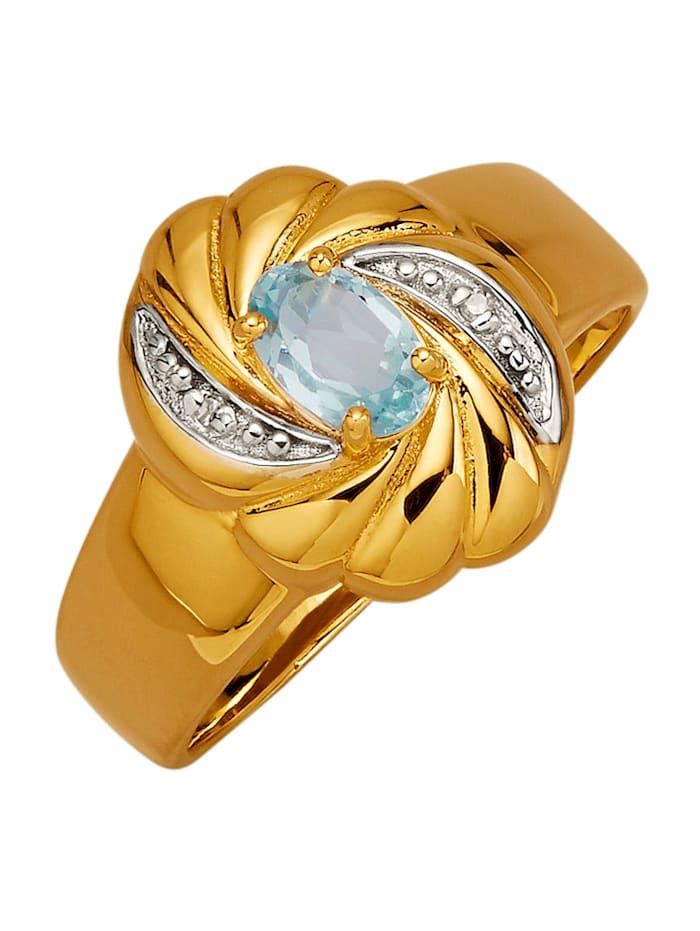 Damesring van echt zilver, Blauw