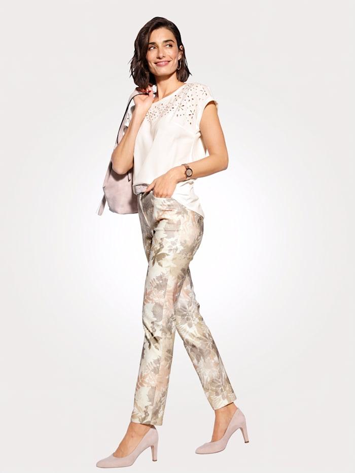 Pantalon à imprimé de feuilles en tons pastel