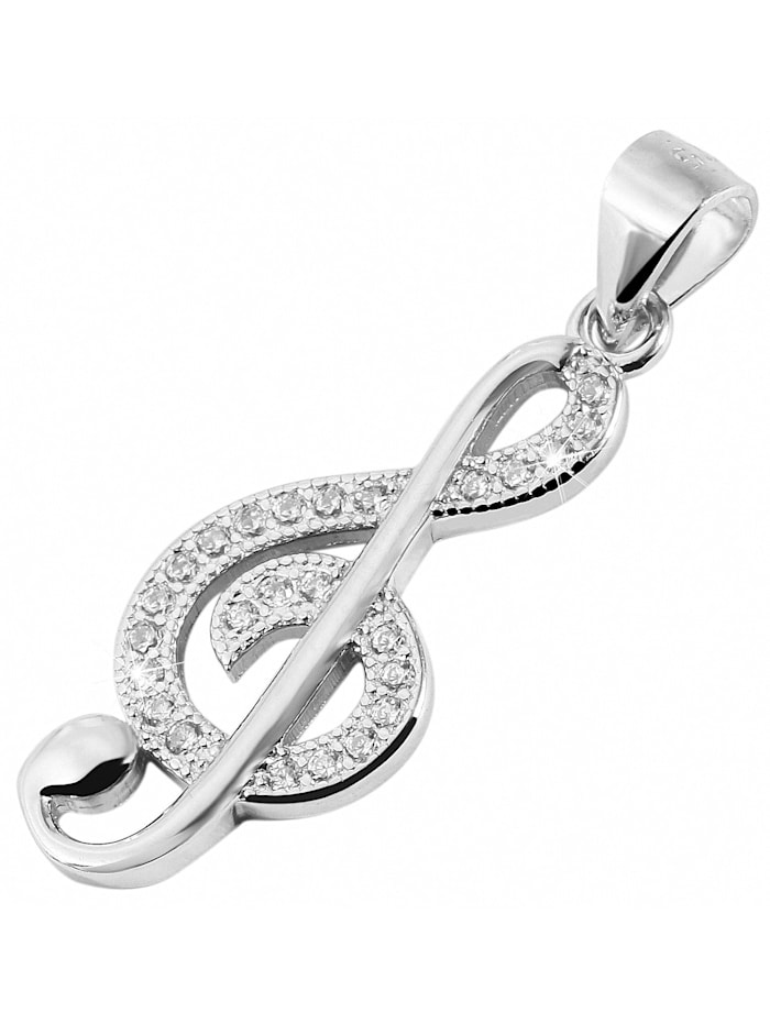 Damen Anhänger Notenschlüssel Musiknote aus 925 Silber mit Zirkonia