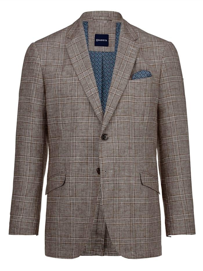 Babista Premium Veste de costume en lin mélangé Style raffiné, Marron/Beige