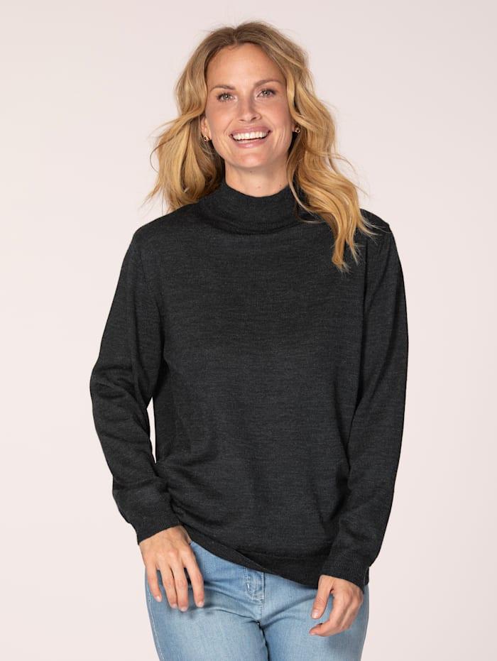 MONA Stehbund-Pullover mit Merino-Schurwolle, Anthrazit