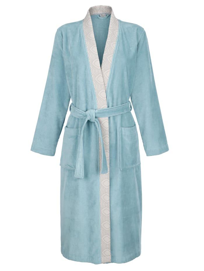 MONA Peignoir à jolie bande en jacquard, Turquoise/Gris