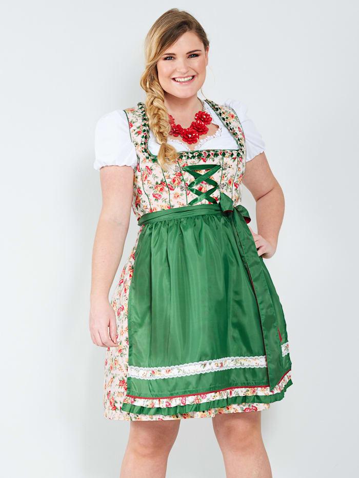Sara Lindholm Dirndl met contrastkleurig schort, Groen/Rood/Wit