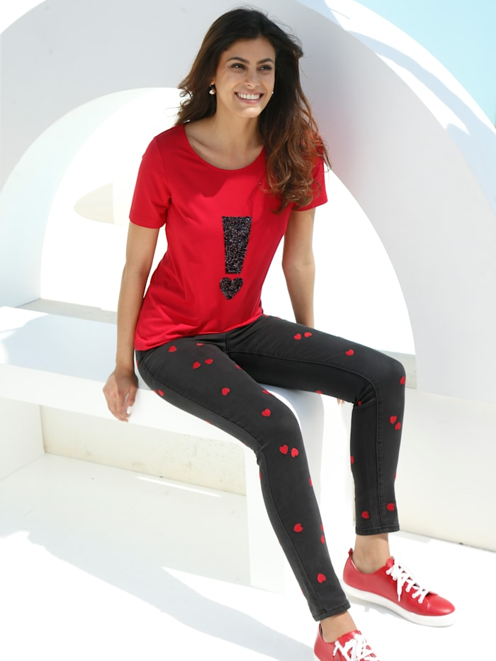 AMY VERMONT Jeans met hartjesprint, Zwart/Rood