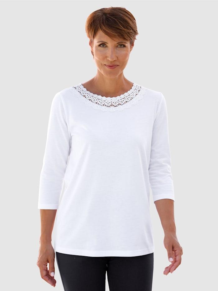 Paola Shirt mit Spitzenapplikation, Weiß