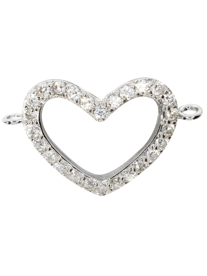1001 Diamonds Damen Schmuck Edelstein Zirkonia Anhänger 925 Silber Herz, silber