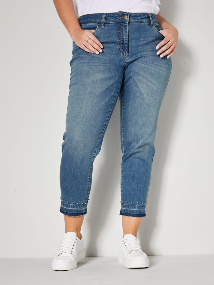 m. collection Jeans mit Dekoperlen am Saum, Blue bleached