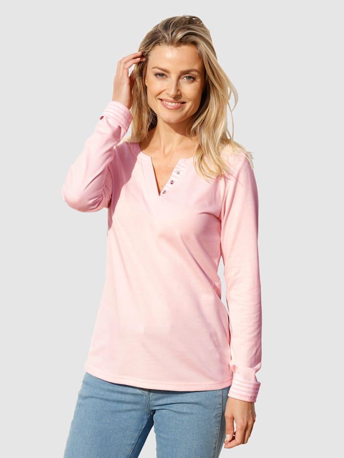 basically you Shirt mit Zierblende in Streifendesign, Hellrosa