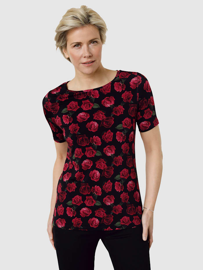 MONA Shirt mit farbbrillantem Rosendruck, Schwarz/Rot/Grün