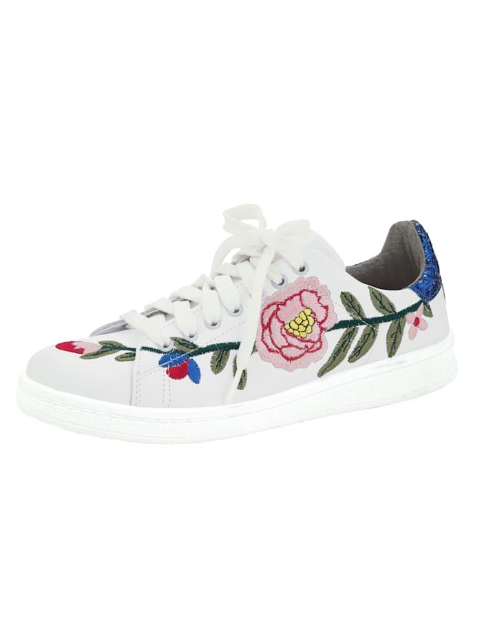 Sneaker met luxueus bloemenborduursel