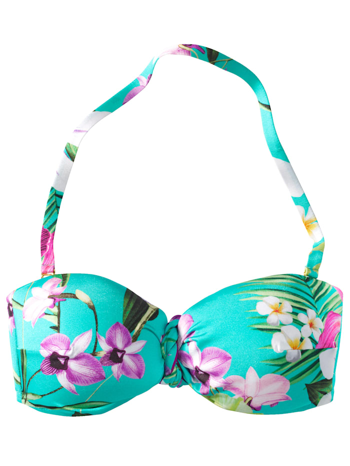 makena lei Bikini-Top Mit floralem Tropenprint, Türkis