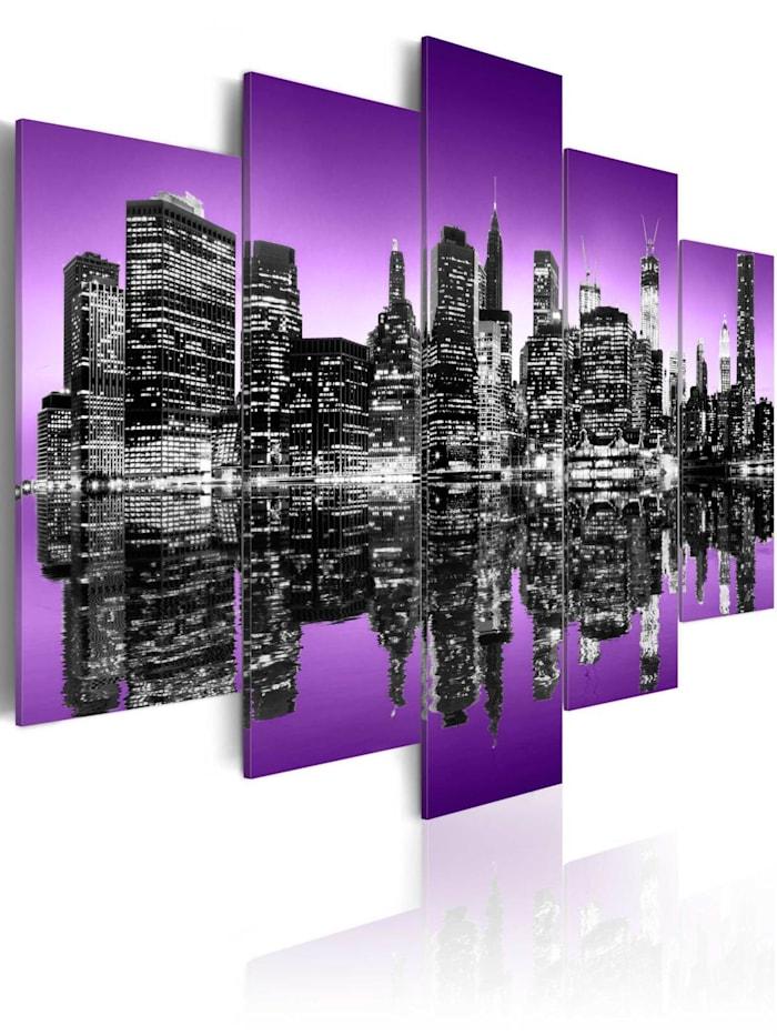 artgeist Wandbild Avantgardistisches New York, grey,violet