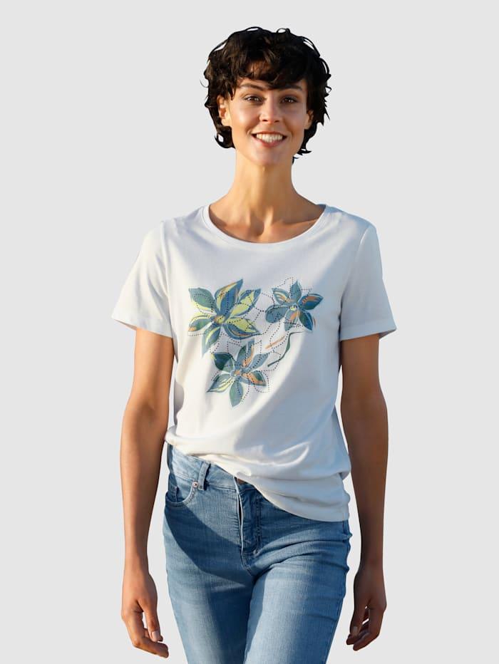 Dress In Shirt mit floralem Druck, Off-white