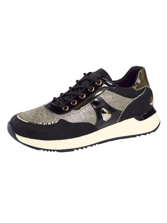 Liva Loop Sneaker mit toller Lackkombination, Schwarz