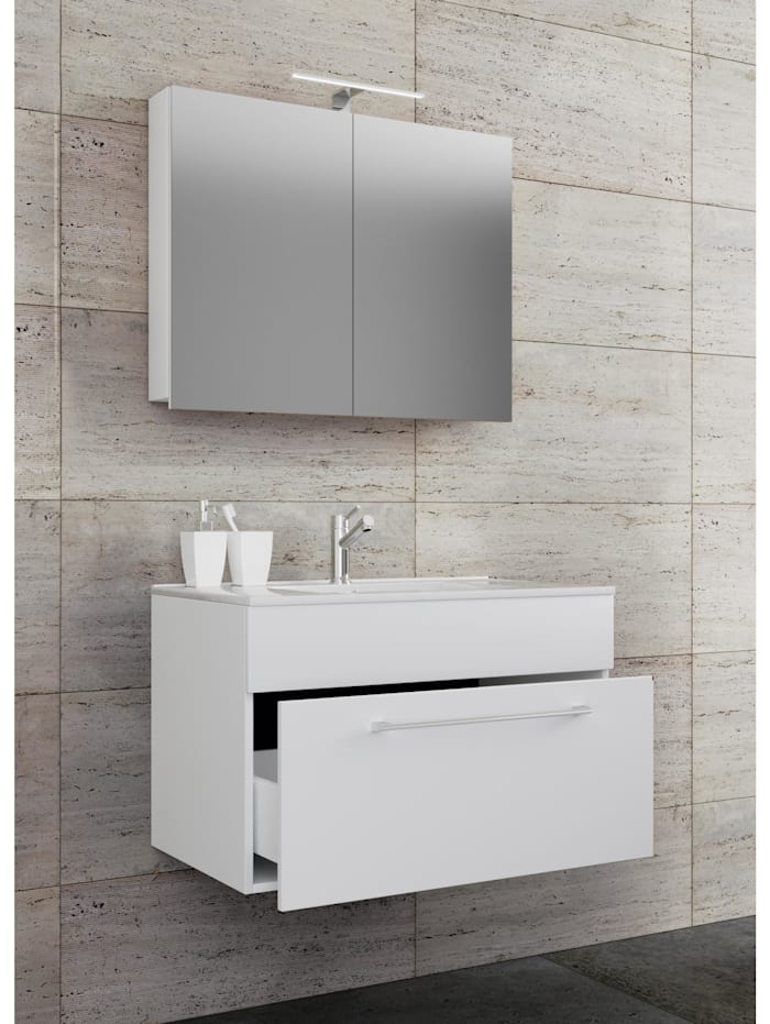 VCM 3.-tlg. Waschplatz Waschtisch Wonda Spiegelschrank, Weiß: 80 cm