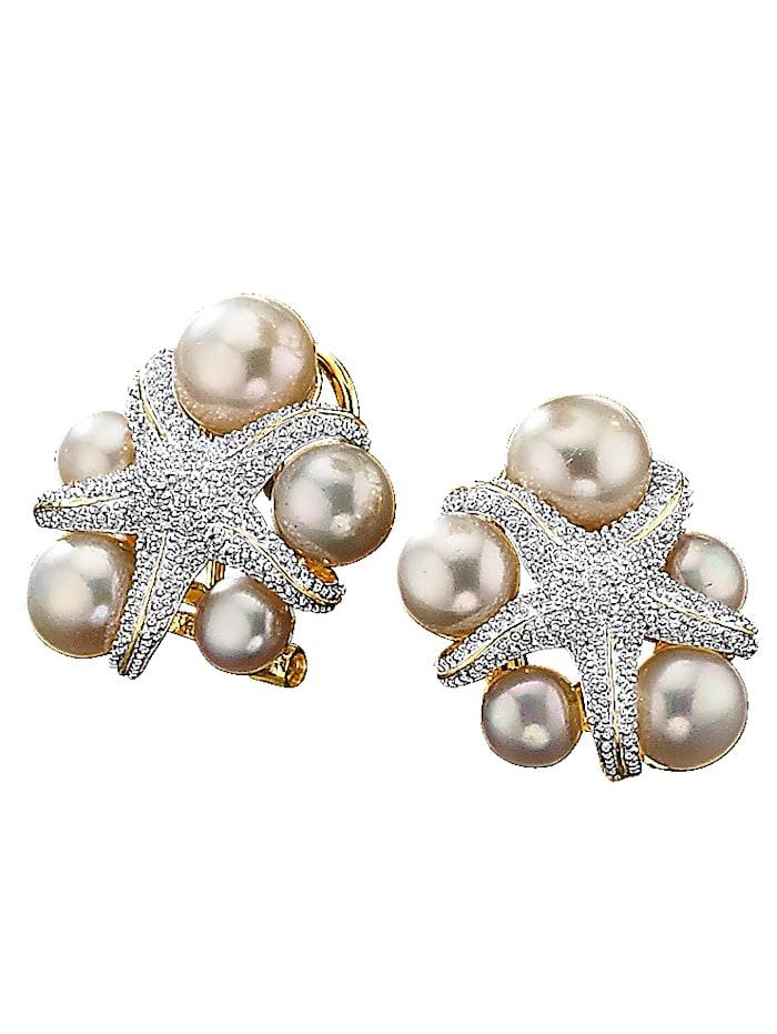 Amara Perles Boucles d'oreilles avec perles de culture d'eau douce, Blanc