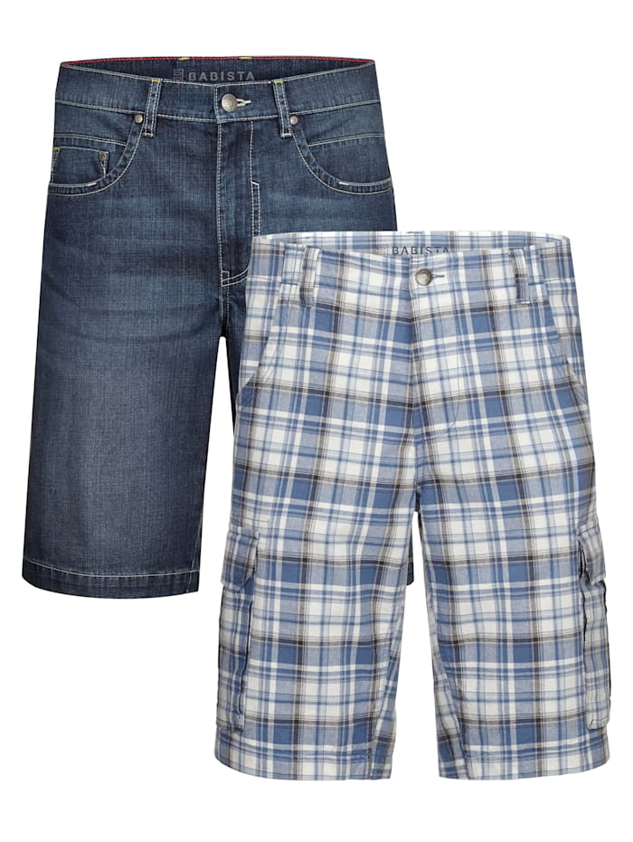 BABISTA Bermudy, 2 kusy džínsové bermudy a Cargo bermudy, Modrá/Biela