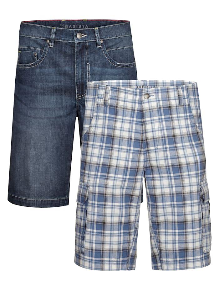 BABISTA Shorts i 2-pack, Blå/Vit