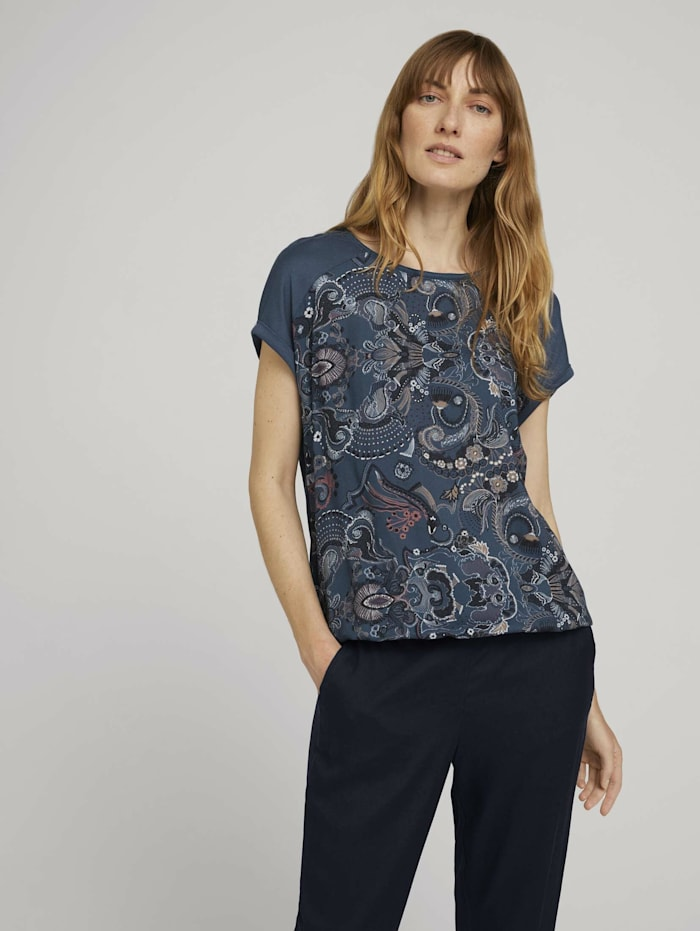 Tom Tailor Gemustertes T-Shirt im Materialmix, blue apricot paisley design
