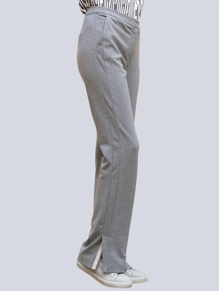 Alba Moda Broek van comfortabele jersey, Grijs/Offwhite