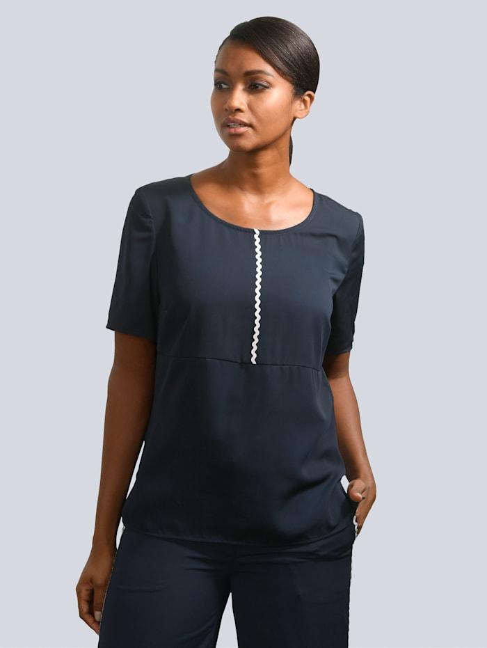 Alba Moda Bluse mit kontrastfarbenen Paspel vorne, Marineblau