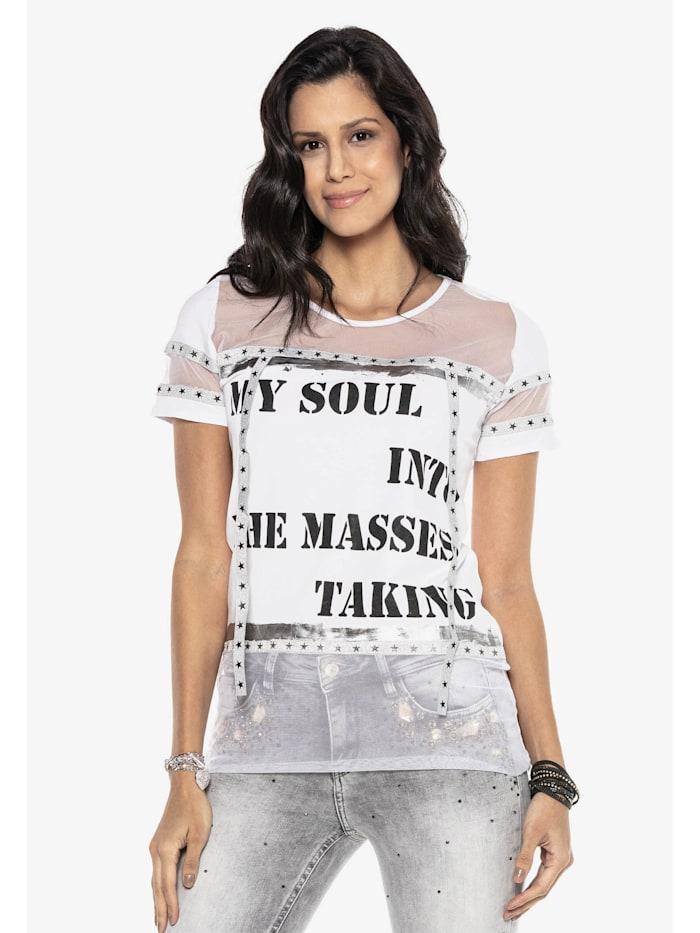 Cipo & Baxx T-Shirt mit stylischem Mesh-Einsatz, WHITE