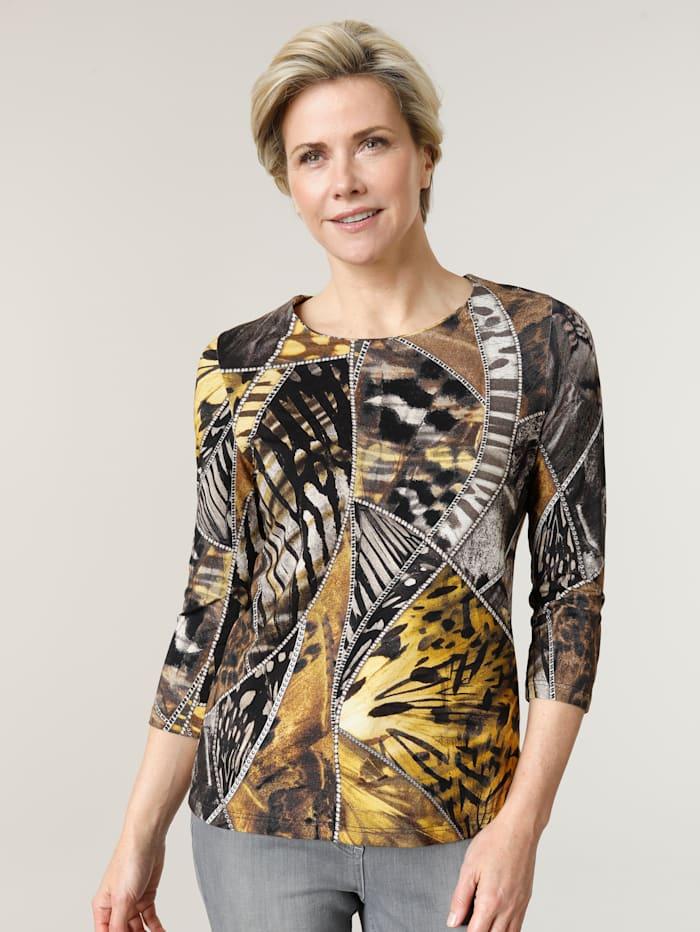 MONA Shirt mit effektvollem Digitaldruck, Senfgelb/Braun/Schwarz