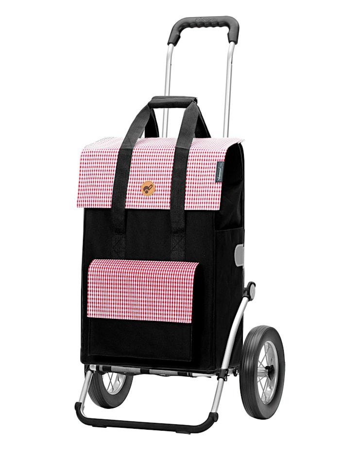 Andersen Shoppingväska med ställning och hjul, Röd