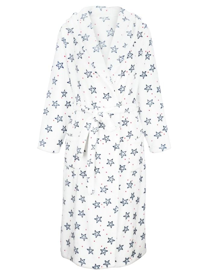 Blue Moon Badjas van heerlijk zachte badstof, Wit/Marine/Rood