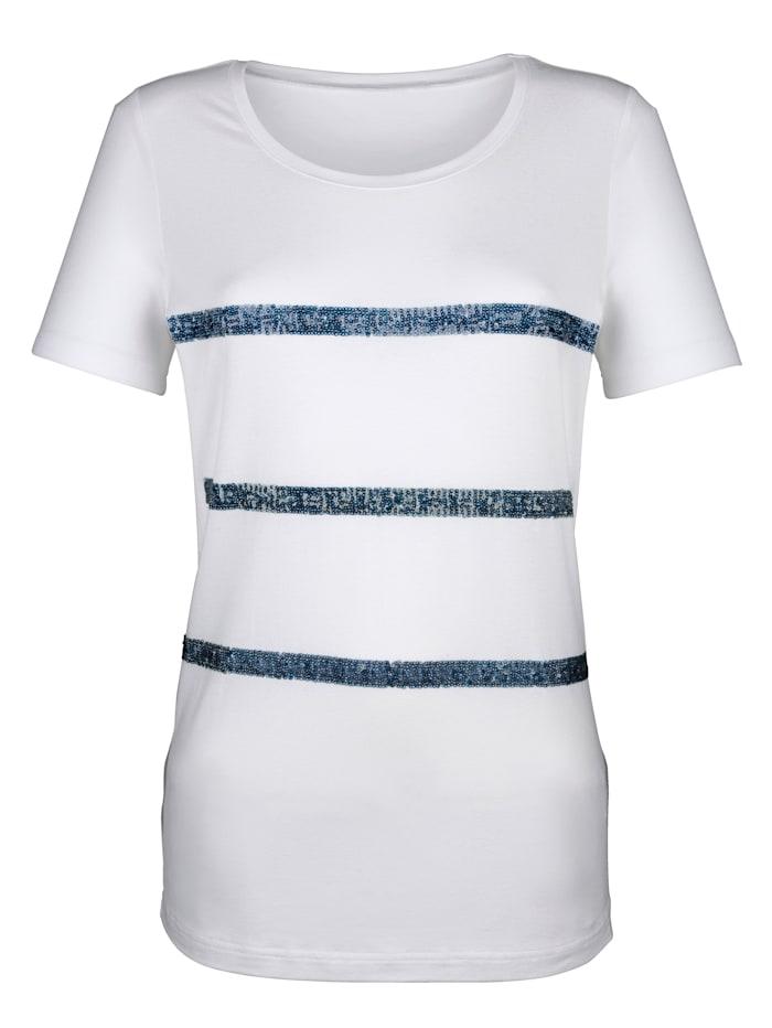 AMY VERMONT Shirt mit Pailletten, Weiß/Marineblau