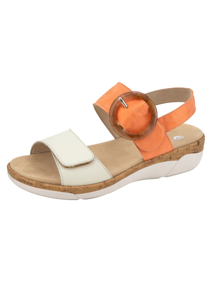 Remonte Sandale mit imposanter Zierapplikation, Orange/Creme-Weiß