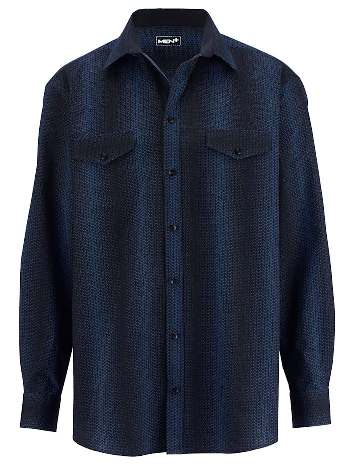 Men Plus Hemd mit Allover Druck, Royalblau/Schwarz