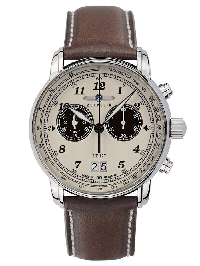 Zeppelin Herrenuhr Chronograph LZ127, Creme-Weiß