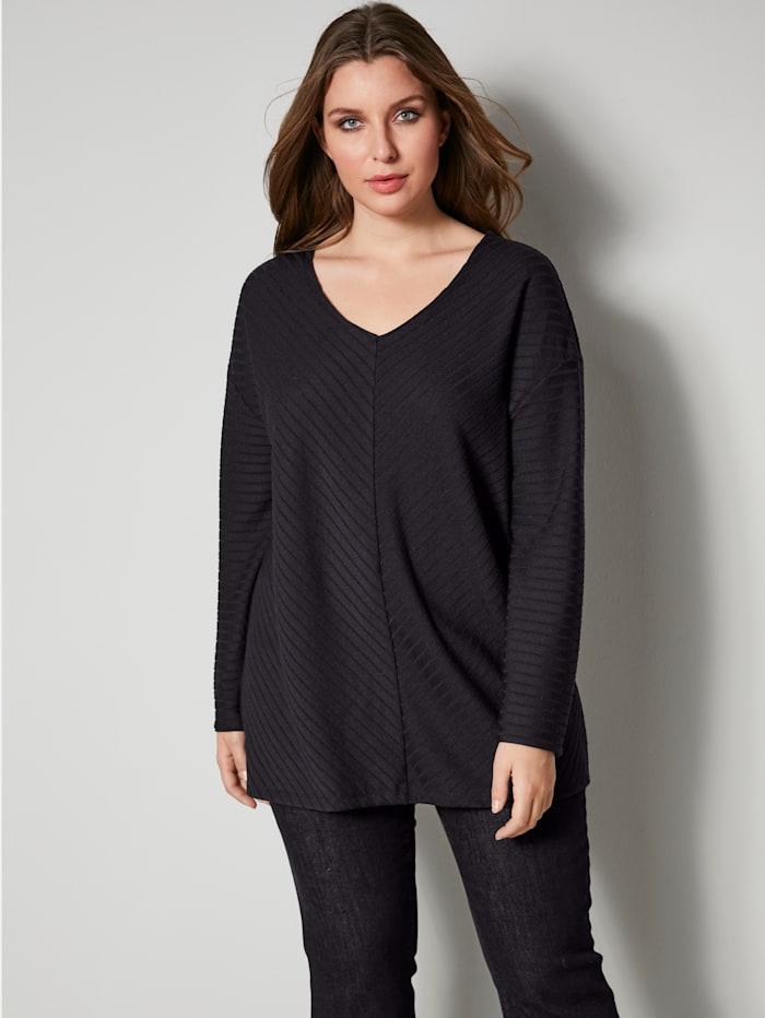 Sara Lindholm Shirt mit Streifenstruktur, Schwarz