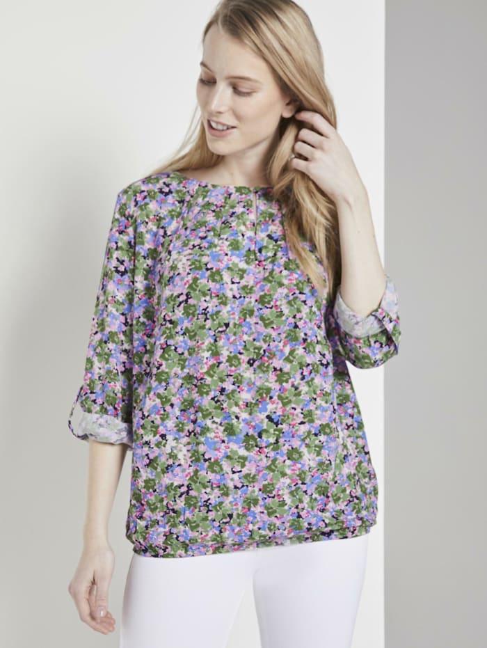 Gemusterte Bluse mit elastischem Bund