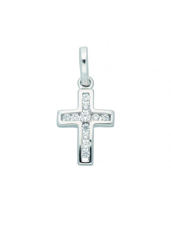 1001 Diamonds Damen & Herren Goldschmuck 333 Weißgold Kreuz Anhänger mit Zirkonia, silber