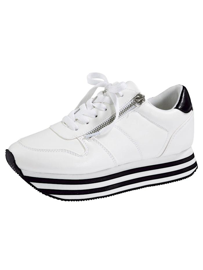 Priority Sneakers à plateau à semelle de marche EVA à plateau bicolore, Blanc