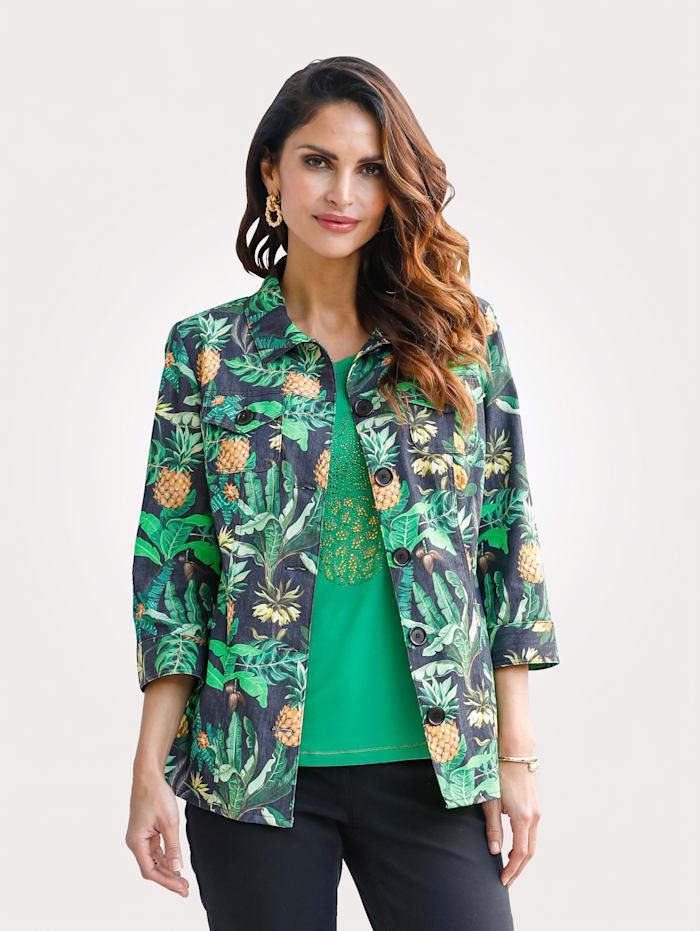 MONA Blazer met ananasmotief, Zwart/Groen