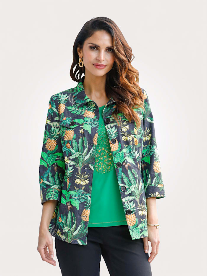 MONA Blazer with a pineapple print, Black/Green