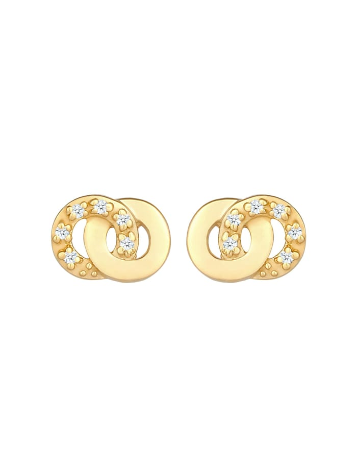 Ohrringe Stecker Infinity Diamanten (0.06 Ct) 375 Gelbgold