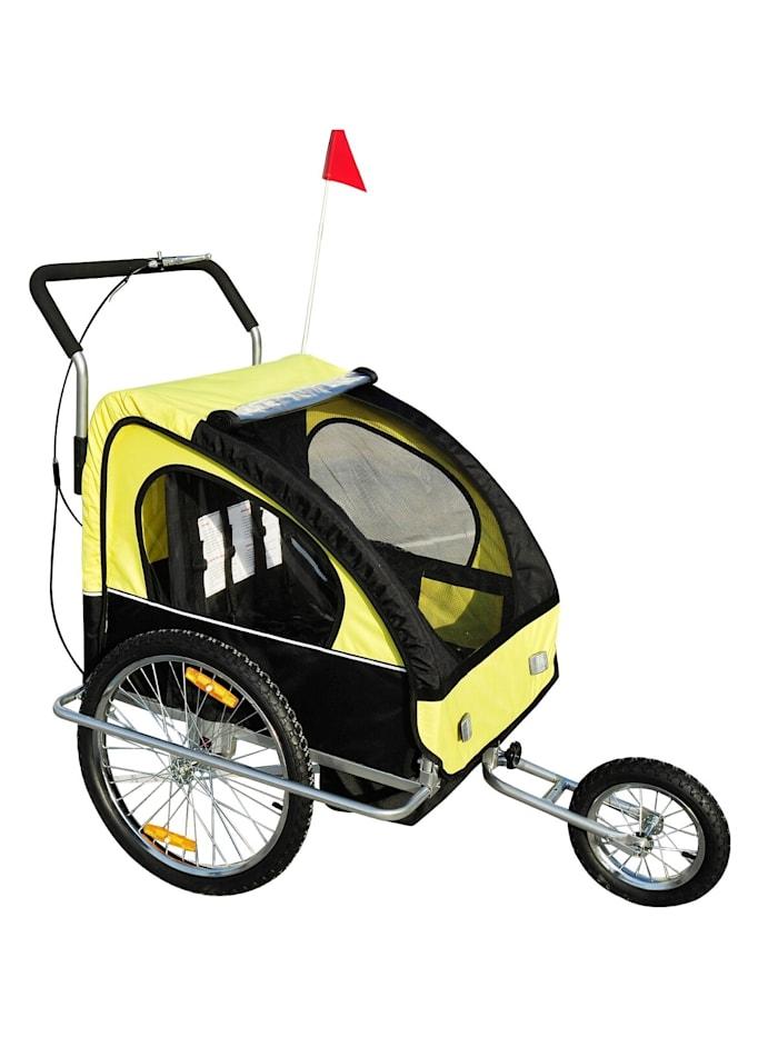 HOMCOM 2 in1 Kinderfahrradanhänger, gelb-schwarz