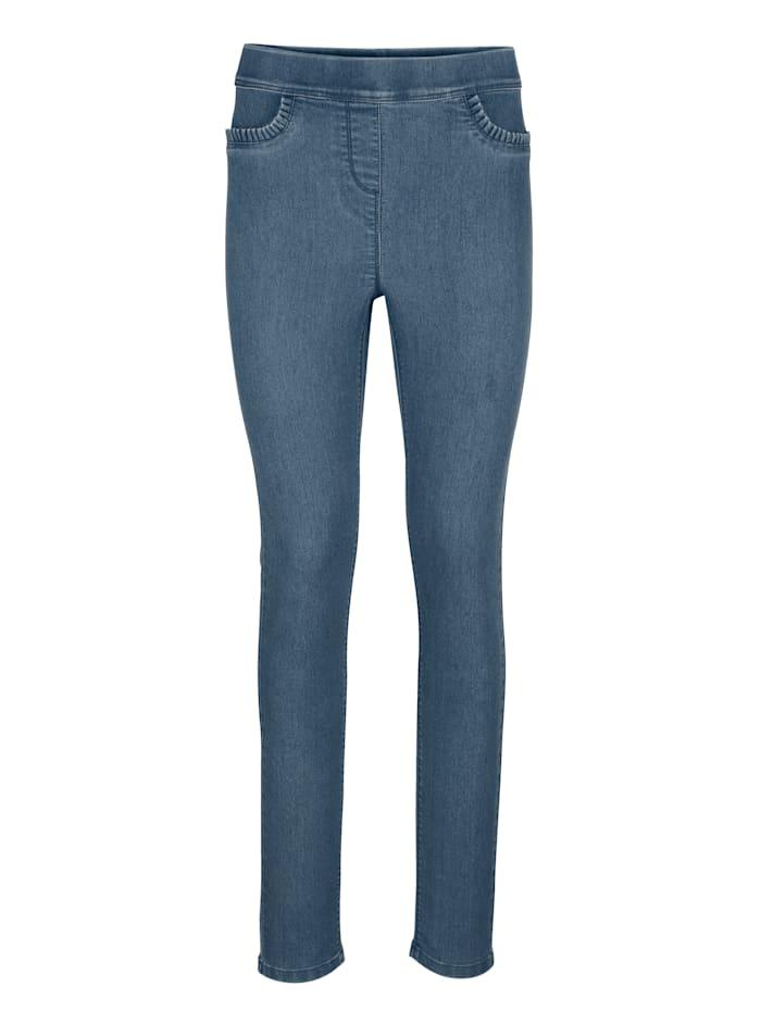 Jeansleggings med ryschdetalj