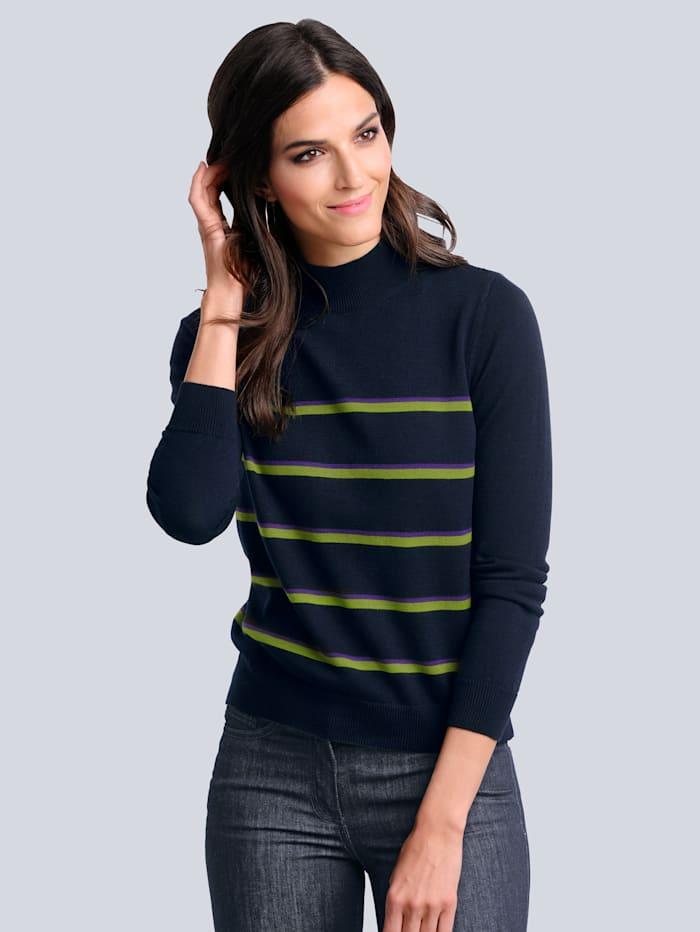 Alba Moda Pullover mit kontrastfarbigem Streifen, Marineblau/Grün/Lila